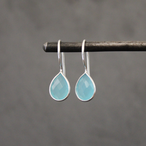 Blue Chalcedony and Sterling Silver Teardrop Earrings - Beyond Biasa