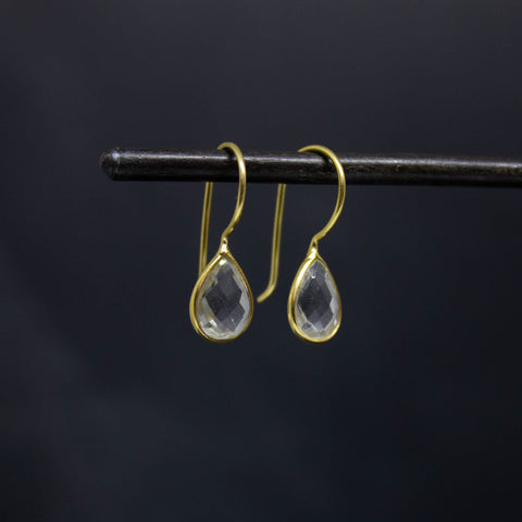 Teardrop Crystal and Gold Vermeil Drop Earrings