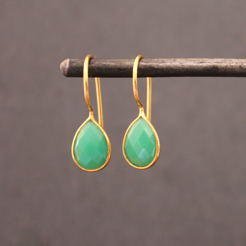 Chrysoprase and Gold Vermeil Teardrop Earrings - Beyond Biasa