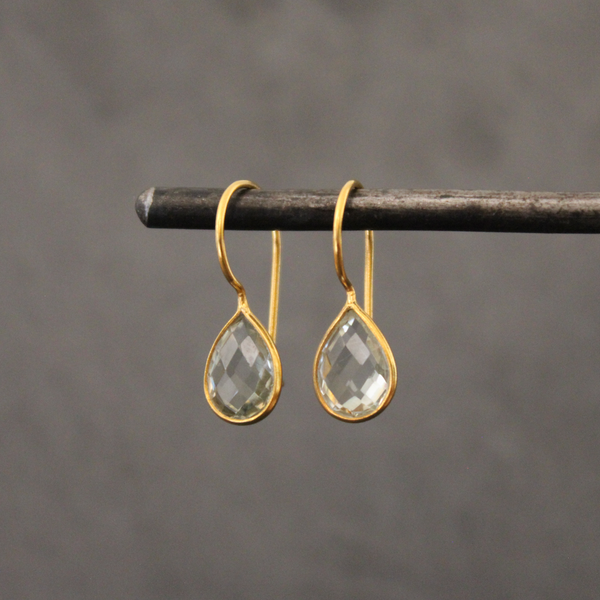 Green Amethyst and Gold Vermeil Teardrop Earrings - Beyond Biasa