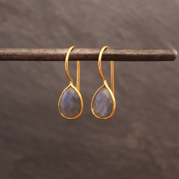 Labradorite and Gold Vermeil Teardrop Earrings