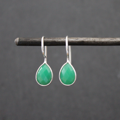 Chrysoprase and Sterling Silver Teardrop Earrings - Beyond Biasa