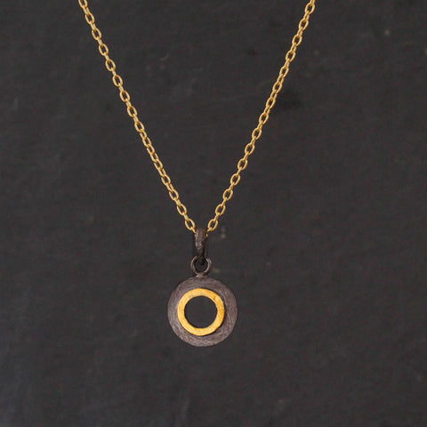 Black and Gold Brushed Open Circle Pendant