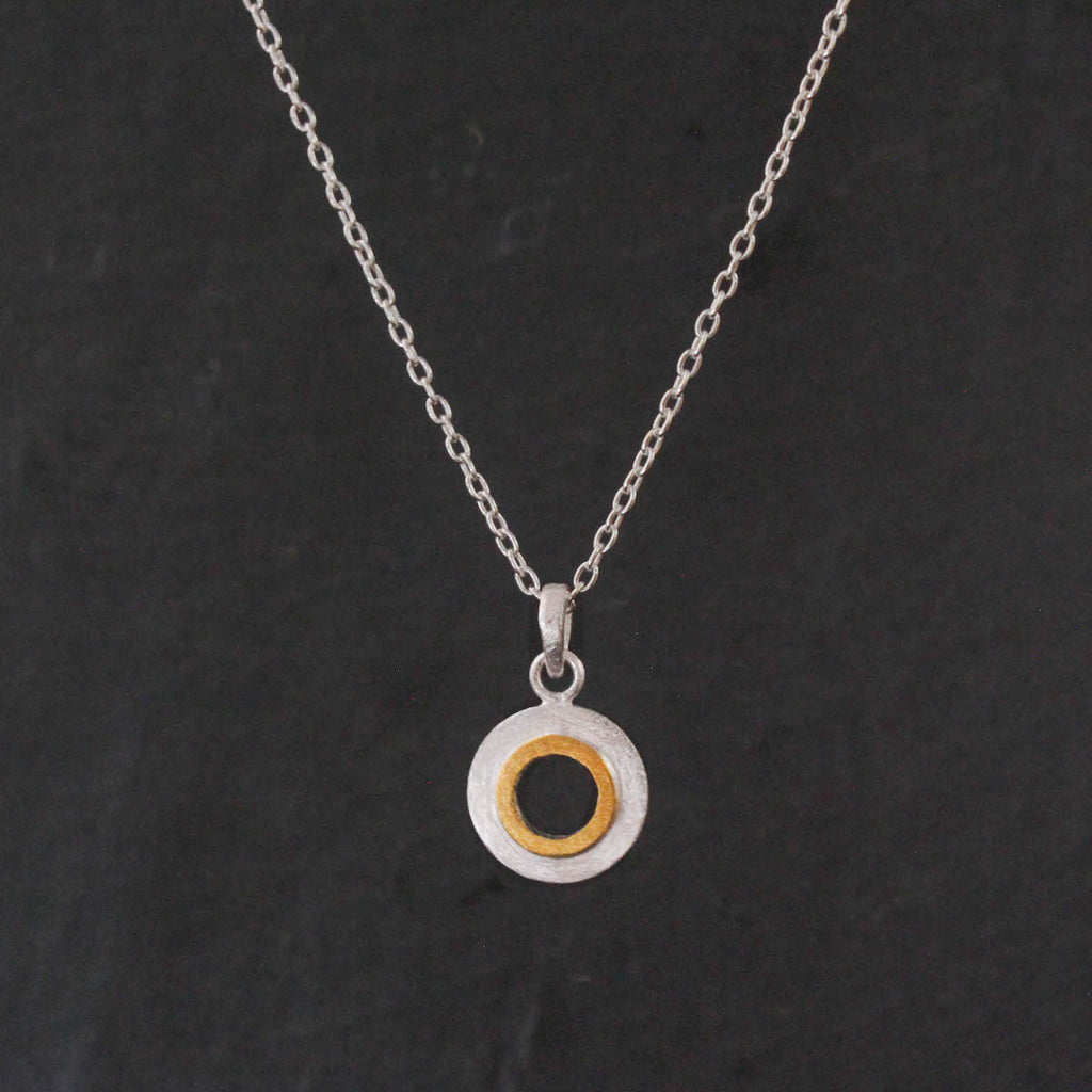 Silver and Gold Brushed Open Circle Pendant