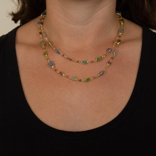 Raw Gemstone and Gold Vermeil Long Necklace