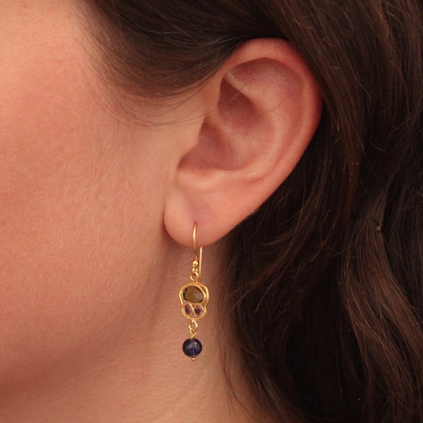 Tourmaline, Lapis Lazuli and Gold Vermeil Drop Earrings - Beyond Biasa