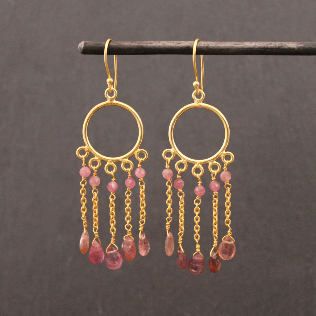 Pink Tourmaline and Gold Vermeil Chain Drop Earrings - Beyond Biasa