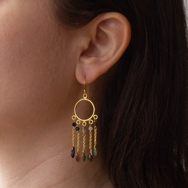 Pink Tourmaline and Gold Vermeil Chain Drop Earrings