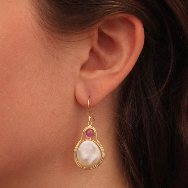 Biwa Pearl, Pink Tourmaline and Gold Vermeil Drop Earrings - Beyond Biasa