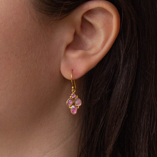 Pink Tourmaline and Gold Vermeil Drop Earrings