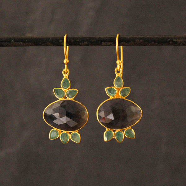 Blue Sapphire, Emerald and Gold Vermeil Drop Earrings