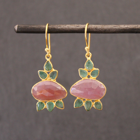 Pink Sapphire, Emerald and Gold Vermeil Drop Earrings
