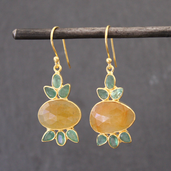Yellow Sapphire, Emerald and Gold Vermeil Drop Earrings