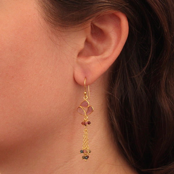 Carved Tourmaline Chain Drop Earrings - Beyond Biasa