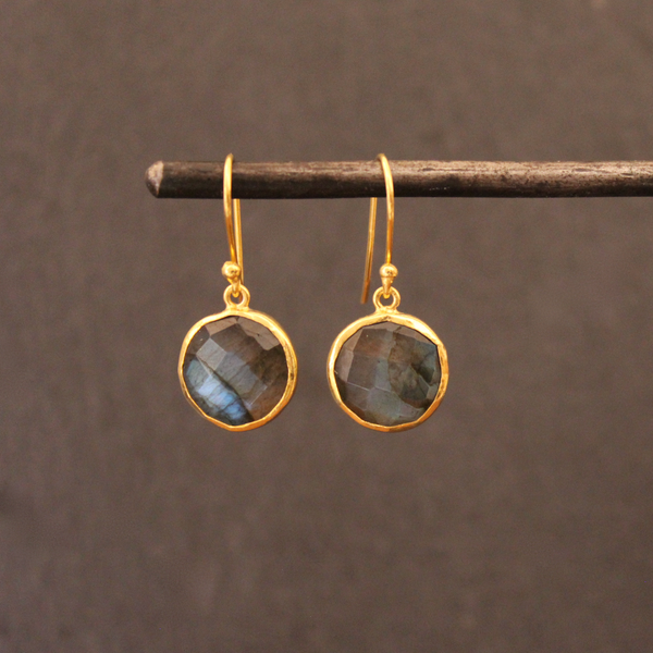Labradorite and Gold Vermeil Round Drops - Beyond Biasa