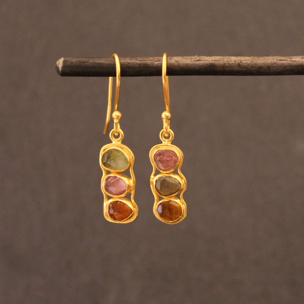 Gold Vermeil and Tourmaline Triple Drop Earrings - Beyond Biasa
