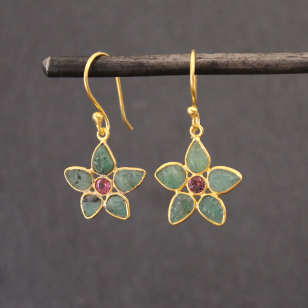 Emerald, Tourmaline and Gold Vermeil Flower Drop Earrings - Beyond Biasa
