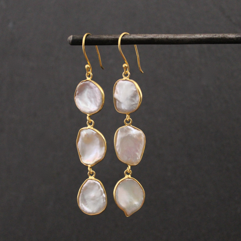 Gold Vermeil and Biwa Pearl Long Drop Earrings - Beyond Biasa