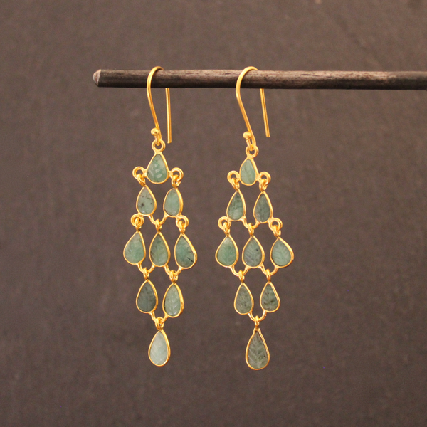 Emerald and Gold Vermeil Chandelier Earrings - Beyond Biasa