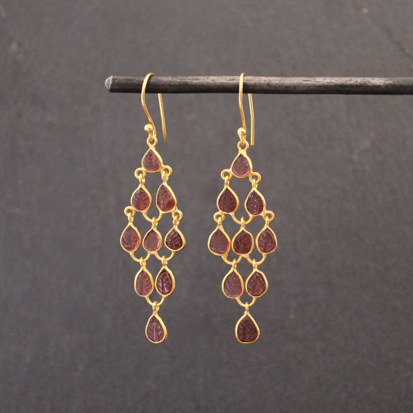 Garnet and Gold Vermeil Chandelier Earrings - Beyond Biasa