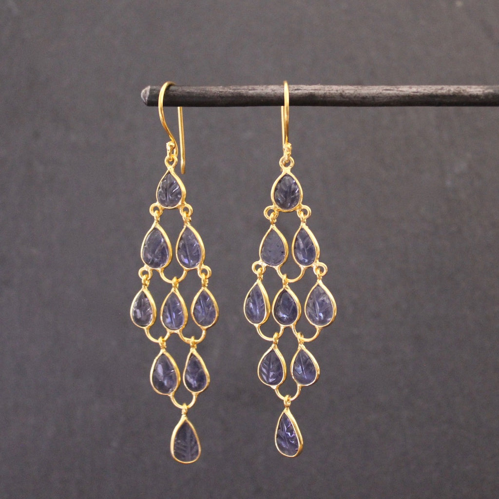 Iolite and Gold Vermeil Chandelier Earrings - Beyond Biasa