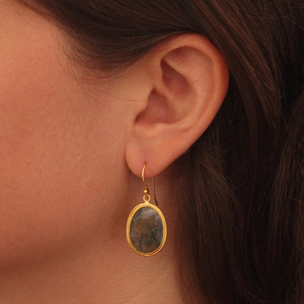 Moss Agate and Gold Vermeil Drop Earrings - Beyond Biasa