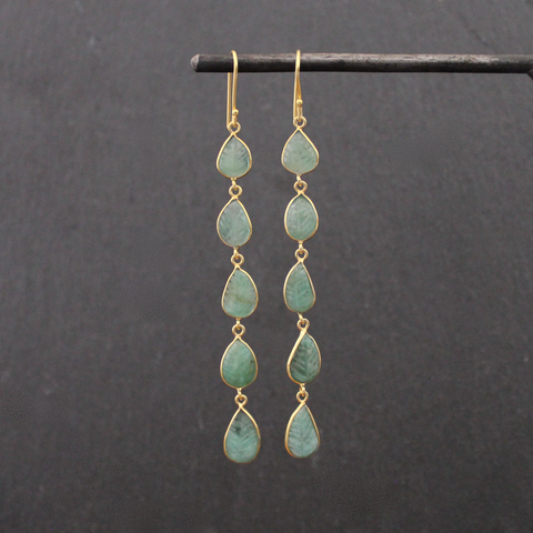 Carved Emerald and Gold Vermeil Long Drop Earrings - Beyond Biasa
