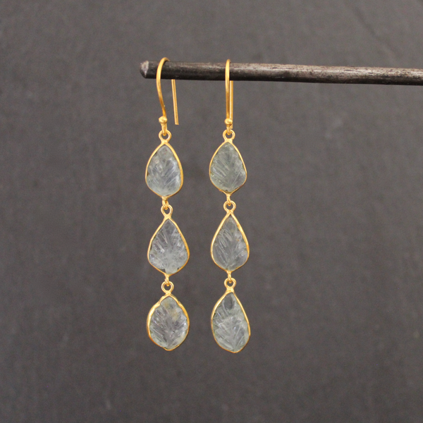 Carved Aquamarine and Gold Vermeil Earrings - Beyond Biasa