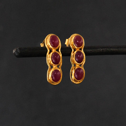 Ruby and Gold Vermeil Stud Earrings