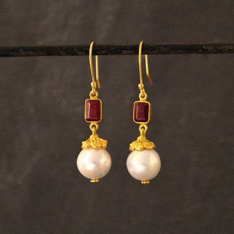 Pearl, Ruby and Gold Vermeil Intricate Drop Earrings