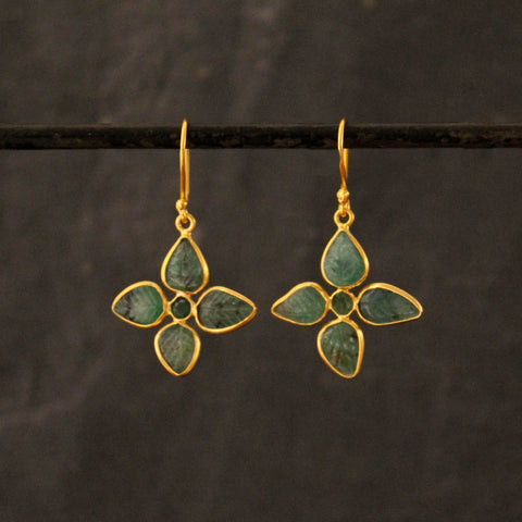 Carved Emerald and Gold Vermeil Drop Earrings