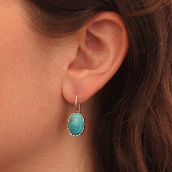 Turquoise and Sterling Silver Oval Drop Earrings - Beyond Biasa