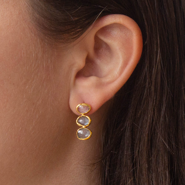 Blue Topaz and Gold Vermeil Triple Stone Earrings