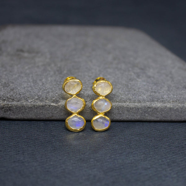 Rainbow Moonstone and Gold Vermeil Triple Stone Earrings