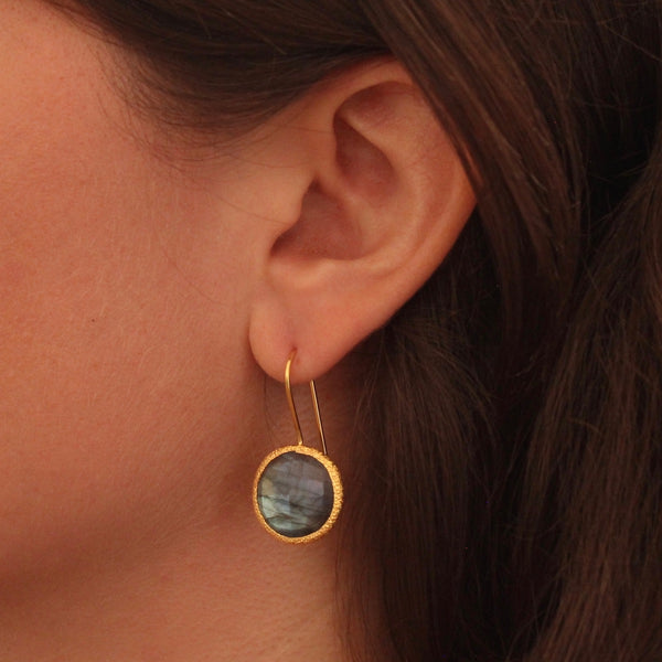 Labradorite and Textured Gold Vermeil Earrings - Beyond Biasa