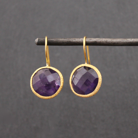 Amethyst and Textured Gold Vermeil Earrings - Beyond Biasa