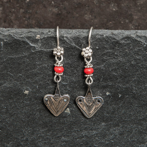 Coral and Sterling Silver Tuareg Earrings - Beyond Biasa