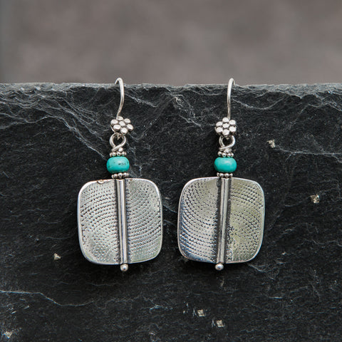Geometric Sterling Silver and Turquoise Earrings - Beyond Biasa