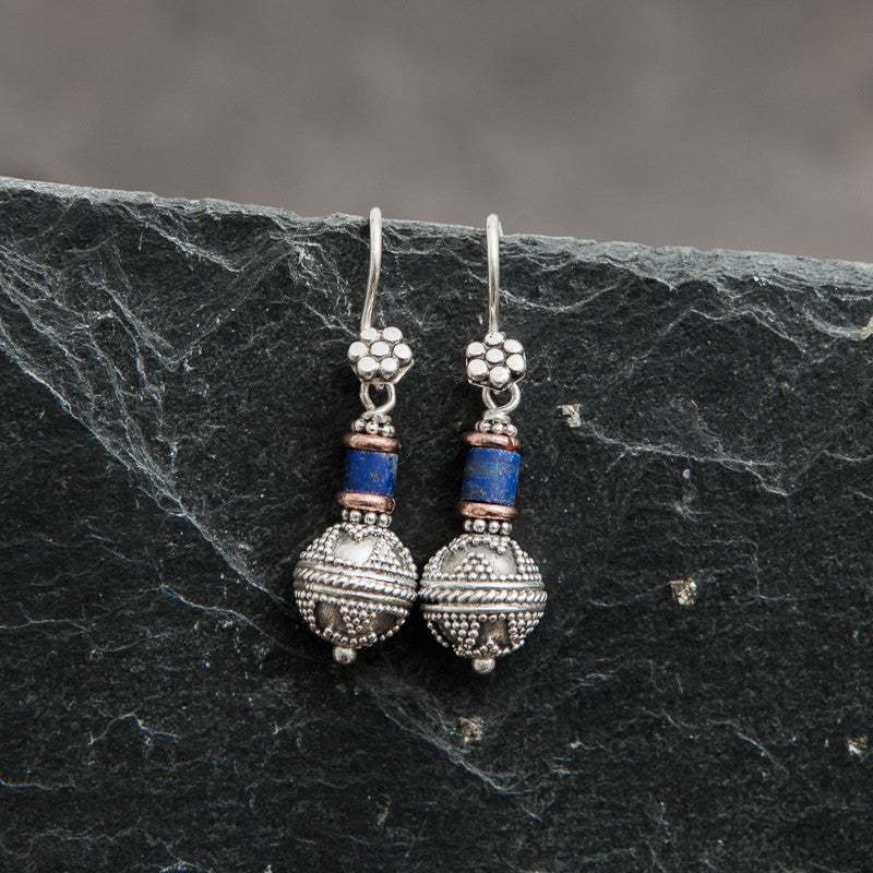 Sterling Silver Balinese Granulation Bead Earrings with Lapis Lazuli and Copper - Beyond Biasa