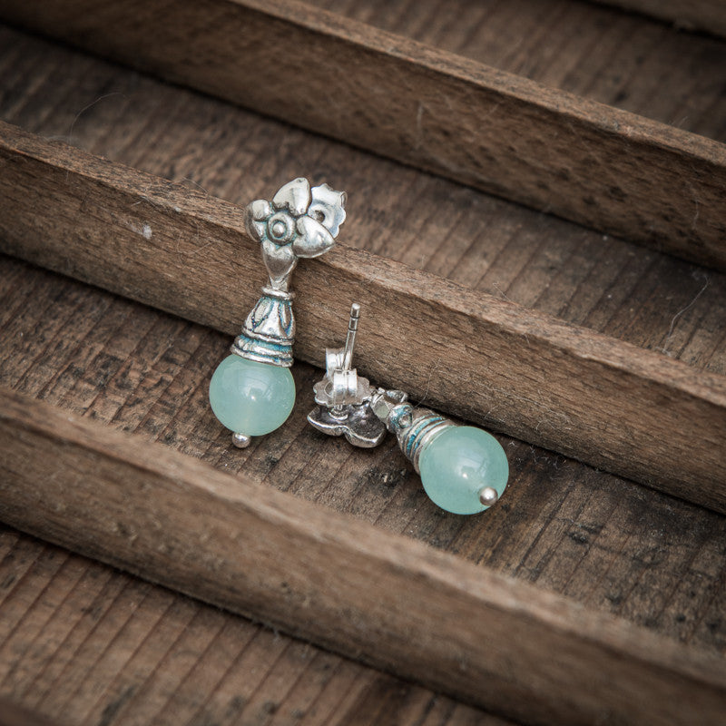 Chalcedony and Sterling Silver Flower Flute Earrings - Beyond Biasa