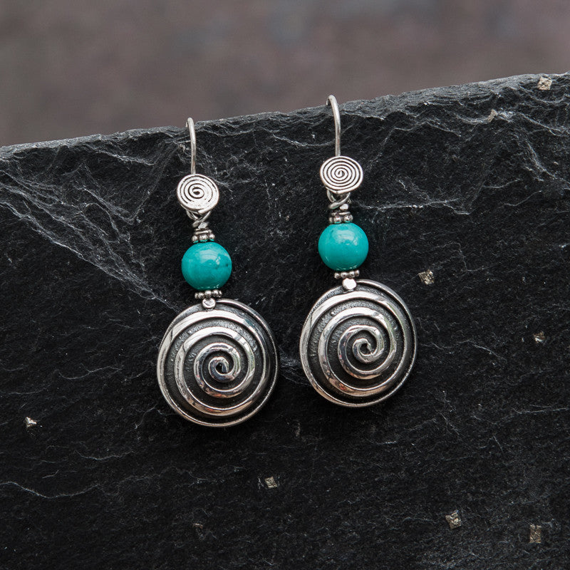 Turquoise and Sterling Silver Spiral Drop Earrings - Beyond Biasa