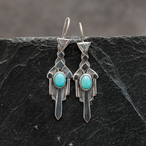 Sterling Silver and Turquoise Art Deco Earrings - Beyond Biasa