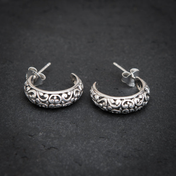 Filigree Sterling Silver Hoop Stud Earrings - Beyond Biasa