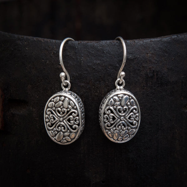 Oxidised Sterling Silver Filigree Cushion Drop Earrings - Beyond Biasa