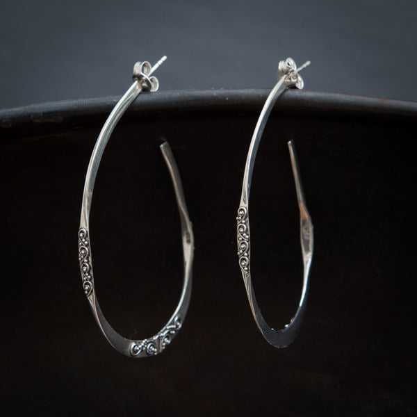 Sterling Silver Organic Filigree Hoop Earrings - Beyond Biasa