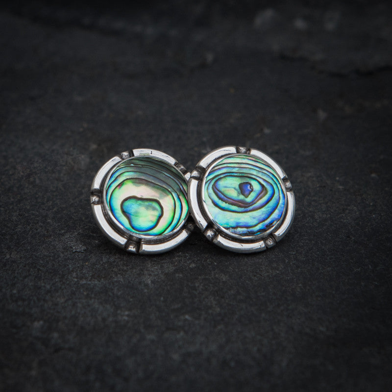Abalone Shell and Sterling Silver Stud Earrings - Beyond Biasa