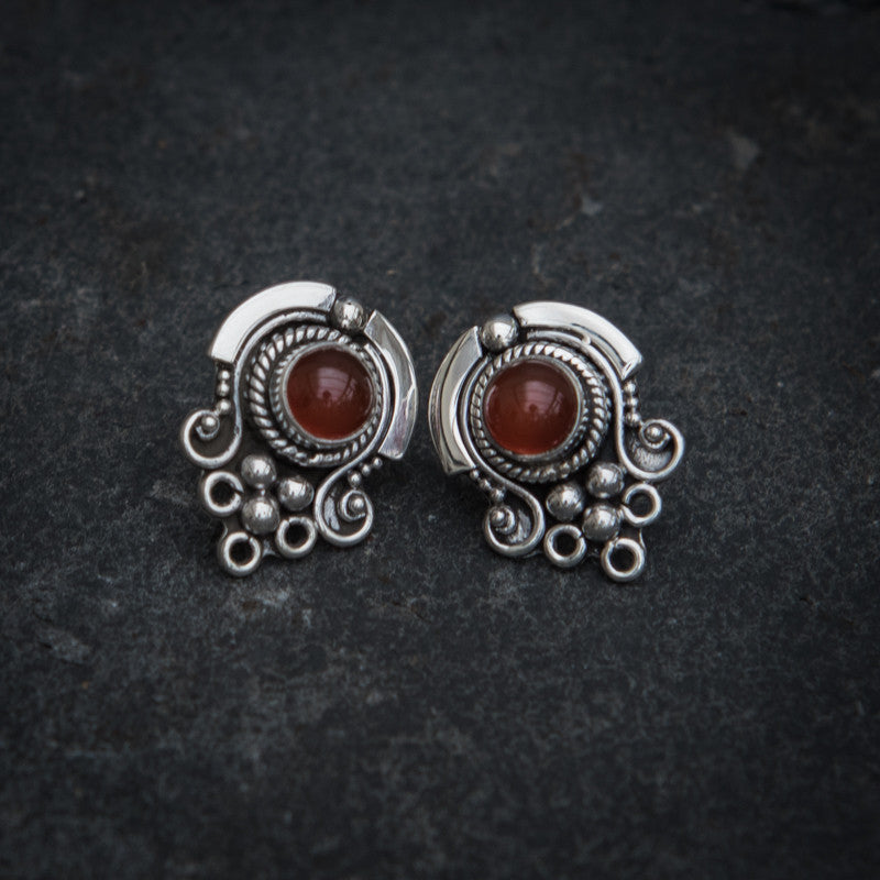 Carnelian and Sterling Silver Detail Stud Earrings - Beyond Biasa