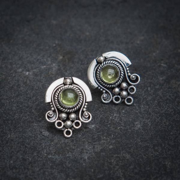 Peridot and Sterling Silver Detail Stud Earrings - Beyond Biasa