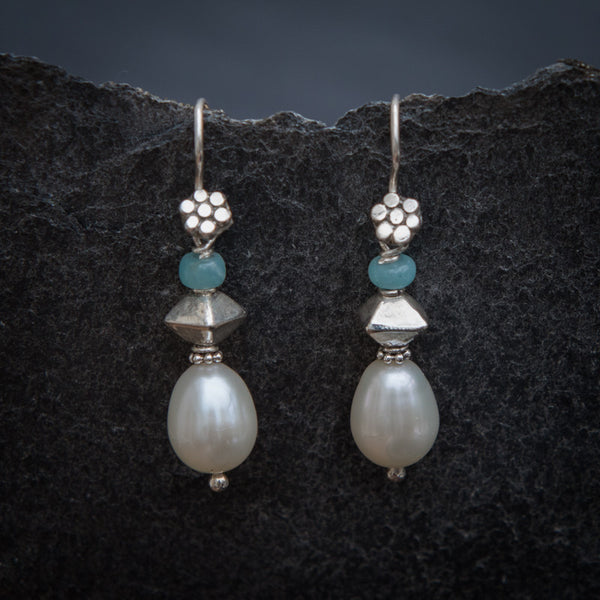 Freshwater Pearl, Amazonite and Sterling Silver Drop Earrings - Beyond Biasa