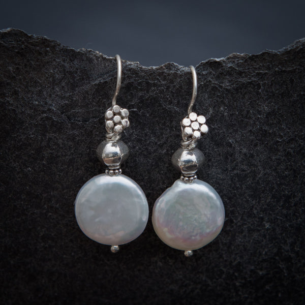 Coin Pearl and Sterling Silver Drop Earrings - Beyond Biasa
